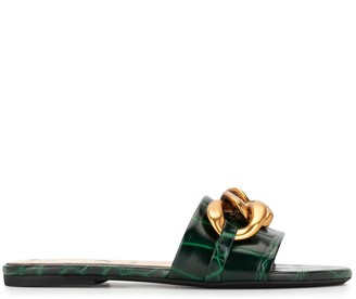 No.21 Chain-Embellished Crocodile-Embossed Slide Sandals