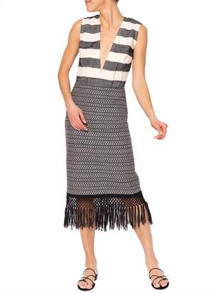 JALINE Yalitza Backless Plunge-Neck Maxi Dress w/ Fringe Skirt