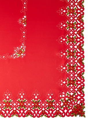 "Sferra Poinsettia 72"" x 108"" Tablecloth with 12 Napkins"
