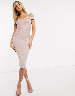 AX Paris cut out strap cold shoulder dress in light pink