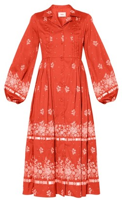 Erdem Broderick Floral-embroidered Cotton-blend Dress - Red White