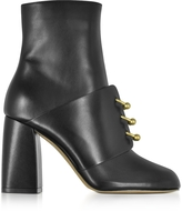 RED Valentino Embellished Black Leather High Heel Booties