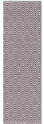 "Birch Lane Belmiro Geometric Handmade Flatweave Cotton Ivory/Chocolate Area Rug Heritage Rug Size: Runner 2'3"" x 8'"