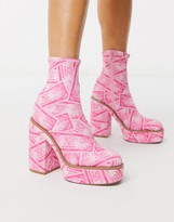 Asos Design DESIGN Electrics platform ankle boot in money print