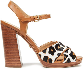MICHAEL Michael Kors Alexia Leopard-print Calf Hair And Leather Sandals