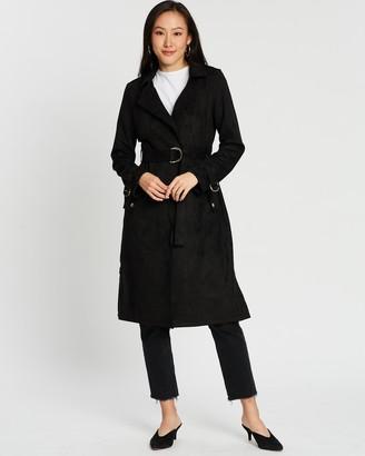 Dorothy Perkins Suedette D-Ring Mac Coat