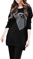 Allegra K Lady Long Dolman Sleeves Pockets Decor Loose Top Shirt XS