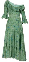 Altuzarra Helden Tiered Floral-print Silk Midi Dress - Womens - Green Print
