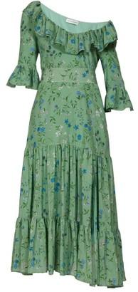 Altuzarra Helden Tiered Floral-print Silk Midi Dress - Womens - Green Print