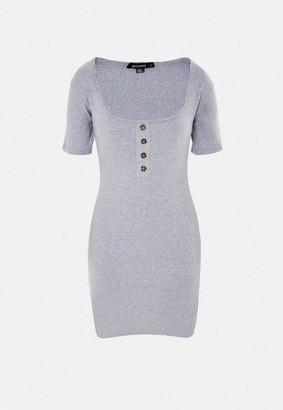 Missguided Gray Rib Tortoiseshell Scoop Front Mini Dress