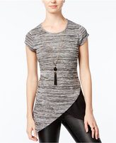 Amy Byer Juniors' Space-Dyed Asymmetrical-Hem Top with Necklace