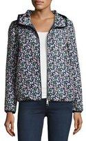 Moncler Vive Floral Hooded Jacket, Blue