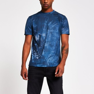 River Island Navy skull tie dye printed slim fit T-shirt