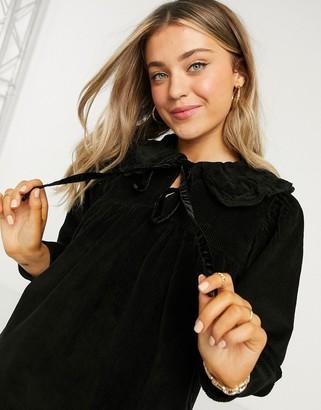 ASOS DESIGN cord collar peplum mini smock dress in black