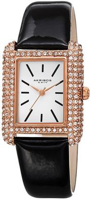 Akribos XXIV Women's Genuine Patent Leather Watch