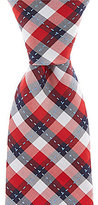 Roundtree & Yorke Trademark Stitch Plaid Narrow Silk Tie