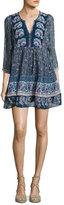 Joie Emlen Floral-Print Silk Peasant Dress, Blue