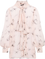 Alexander McQueen Pussy-bow Printed Silk-crepon Blouse - Blush