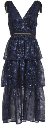 Self-Portrait Blue Long Dress With Sequins