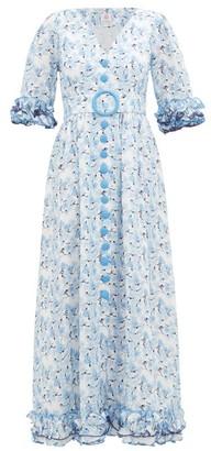 Gül Hürgel Belted Floral-print Linen Dress - Womens - Blue Print