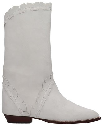 Isabel Marant Sezari Low Heels Ankle Boots In White Suede