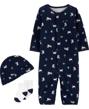 Carter's Baby Boys 3-Pc. Jungle-Print Cotton Coverall, Hat & Socks Set