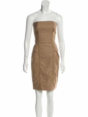 Gucci Strapless Lace-Up Dress w/ Tags gold