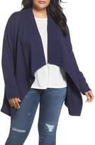 Caslon Knit Drape Front Jacket (Plus Size)