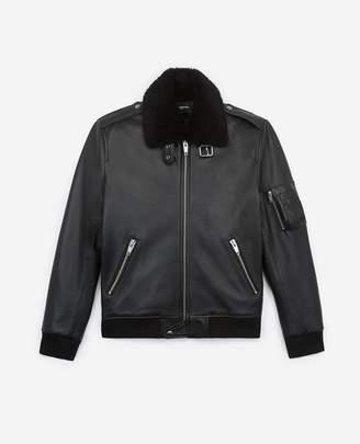The Kooples Black leather flight jacket w/shearling neck