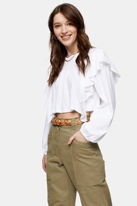 Topshop White Long Sleeve Frill Top