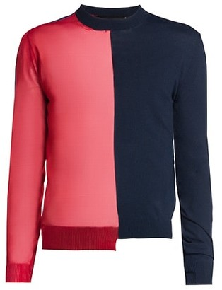 DSQUARED2 Colorblock Sheer Pullover Sweater