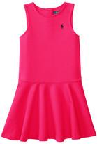 Polo Ralph Lauren Ponte Short Sleeve Pleated Dress (Toddler)