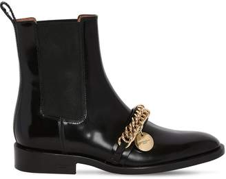 Givenchy 20MM BRUSHED LEATHER BOOTS W/ CHAIN