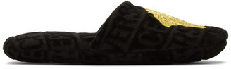 Versace Black Logomania Slippers