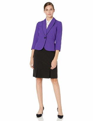 Le Suit LeSuit Women's Textured Mini Plaid 1 Button Shawl Collar Skirt Suit