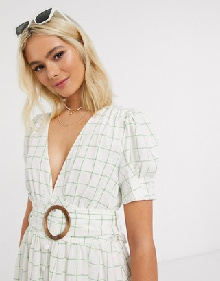 Moon River belted midi dress in green check