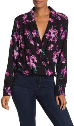 Free Press Notch Collar Surplice Long Sleeve Top