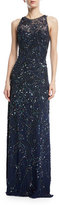 Jenny Packham Sleeveless All-Over-Beaded Straight Evening Gown