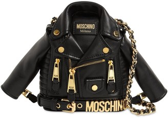 Moschino Mini Biker Jacket Leather Shoulder Bag