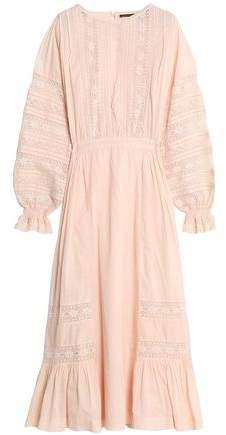 Antik Batik Lace-Trimmed Cotton Midi Dress