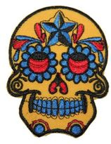 Logophile Embroidered Painted Skull Patch