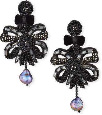 Ranjana Khan Clip-On Bow Dangle Earrings with Pearl