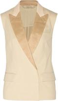 Reed Krakoff Leather-trimmed cotton-blend piqué vest