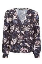 Select Fashion Fashion Womens Black Floral Ls Lotus Wrap Blouse - size 6