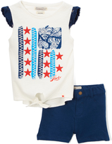Lucky Brand Bright White Mia Tie-Front Top & Shorts - Infant & Toddler