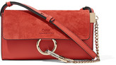 Chloé Faye Mini Leather And Suede Shoulder Bag - Tomato red