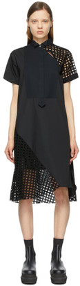 Sacai Black Poplin Embroidered Dress
