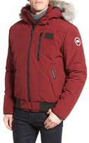 Canada Goose 'Borden' Regular Fit Bomber Jacket with Genuine Coyote Trim
