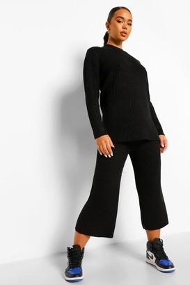 boohoo Premium Knitted Rib Turtle Neck Set