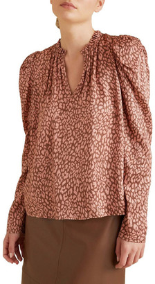 Seed Heritage Puff Sleeve Ocelot Blouse No